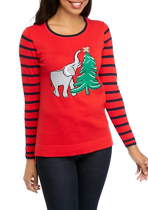 Crown & Ivy™ Petite Long Sleeve Intarsia Sweater
