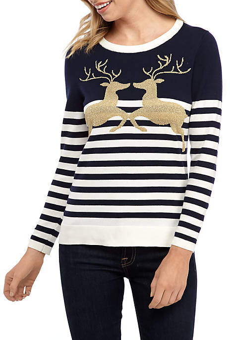 Crown & Ivy™ Petite Long Sleeve Intarsia Sweater