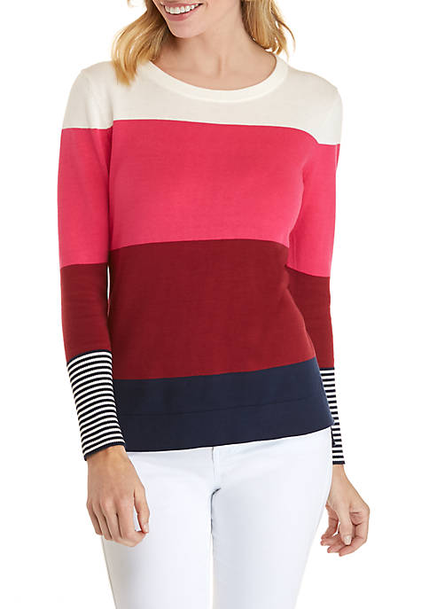 Petite Long Sleeve Color Block Sweater