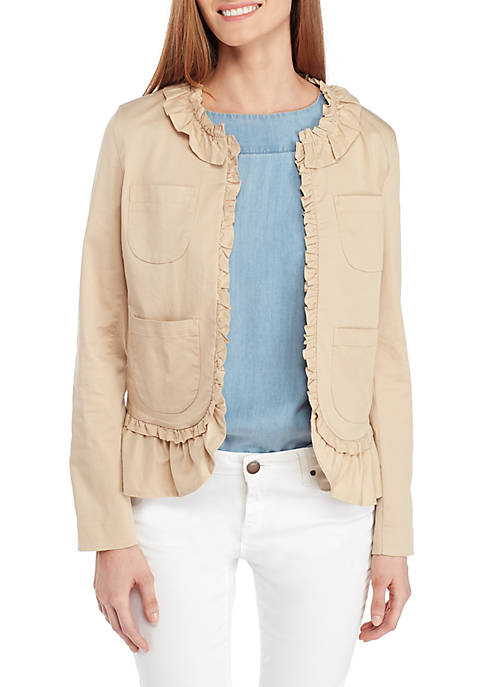 Crown & Ivy™ Petite Ruffle Trim Solid Jacket