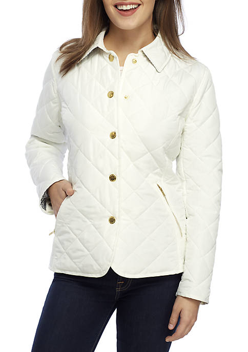 Crown & Ivy™ Petite Long Sleeve Quilted Jacket