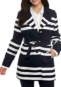 Petite Long Sleeve Stripe Trench Coat