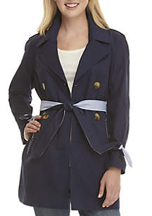 Petite Long Sleeve Solid Trench Coat