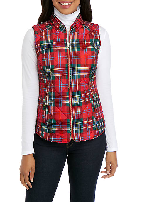 Crown & Ivy™ Petite Sleeveless Quilted Printed Vest