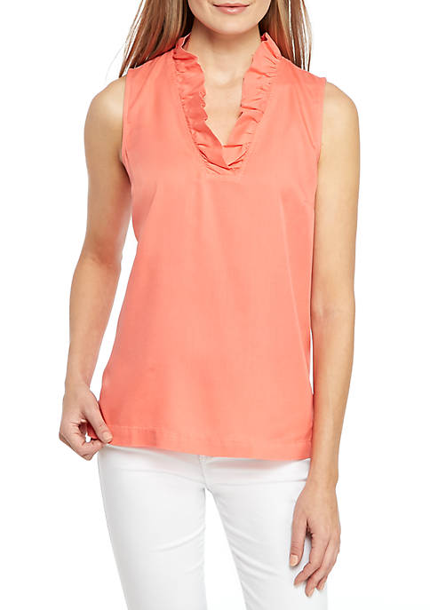 Crown & Ivy™ Petite Solid Ruffle Neck Top