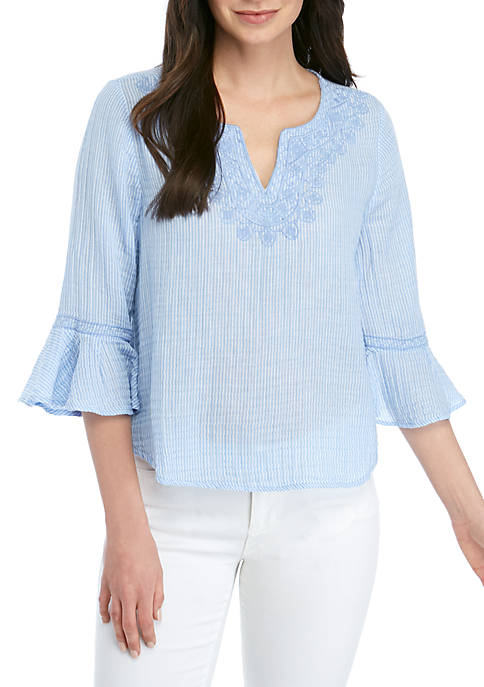 Petite 3/4 Bell Sleeve Embroidered Neck Top