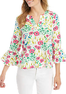 72a52f31939d ... Classic Shorts · Crown   Ivy™ Petite 3 4 Bell Sleeve Embroidered Print  Top