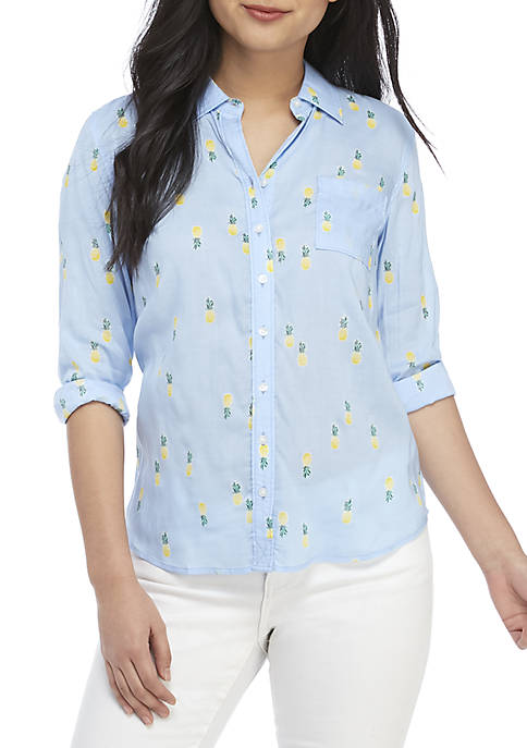 Petite Long Sleeve Button Up Keyhole Print Top