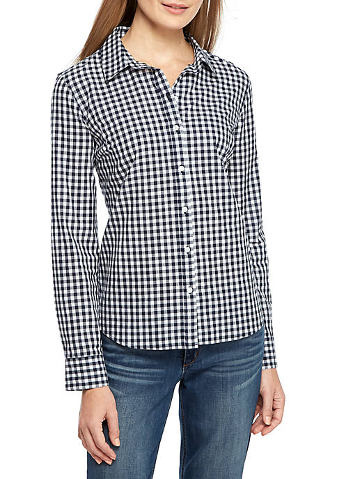 Crown & Ivy™ Petite Long Sleeve Button Up