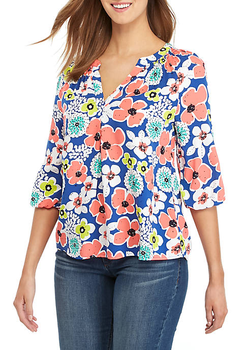 Crown & Ivy™ Petite Printed Peasant Top