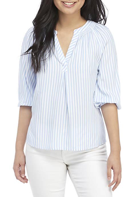 Petite 3/4 Sleeve Stripe Peasant Top