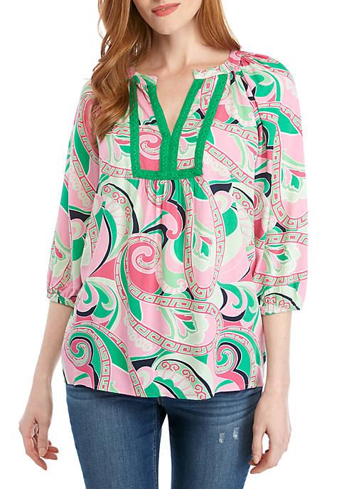 Crown & Ivy™ Petite 3/4 Sleeve Peasant Print
