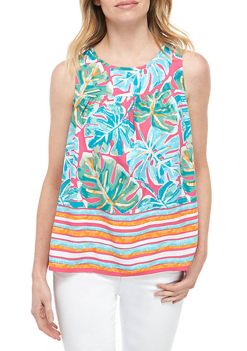 Petite Sleeveless Tie Back Printed Top