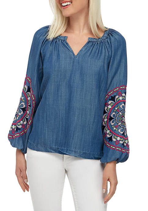 Petite Long Embroidered Sleeve Peasant Top