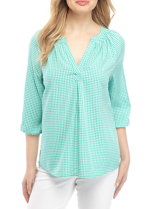 Crown & Ivy™ Petite Split Neck Peasant Top