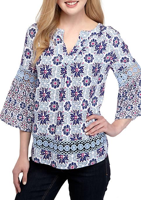 Crown & Ivy™ Petite 3/4 Sleeve Crochet Printed