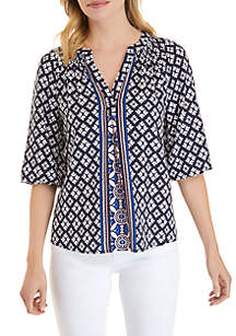 Crown & Ivy™ Petite 3/4 Sleeve Printed Peasant Top