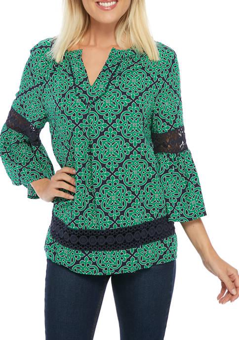 Crown & Ivy™ Petite 3/4 Crochet Peasant Top