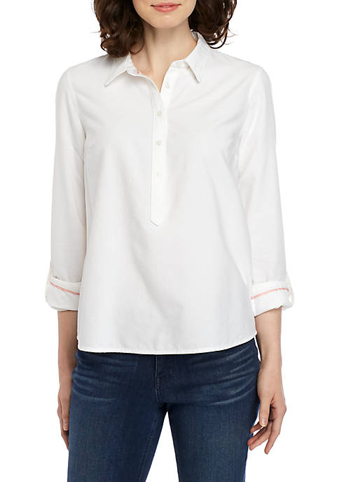 Crown & Ivy™ Petite Long Sleeve Button Down