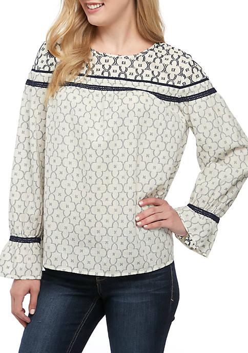 Crown & Ivy™ Petite Long Sleeve Texture Print