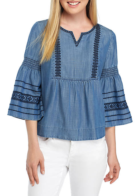 Crown & Ivy™ Petite Embroidered Flare Sleeve Top