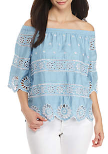 Petite Off-The-Shoulder Embroidered Scallop Top