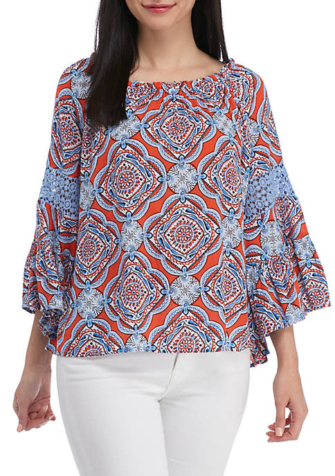 Crown & Ivy™ Ouitile Bell Sleeve Blouse
