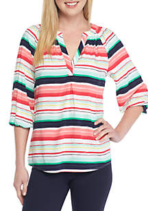 Petite Core Woven Striped Peasant Top