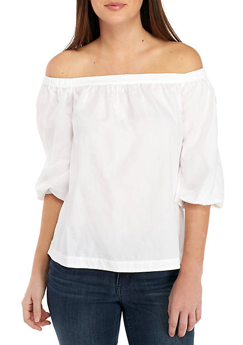 Crown & Ivy™ Petite Off The Shoulder Solid