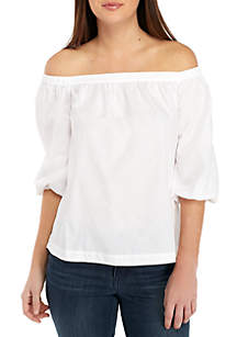 Petite Off The Shoulder Solid Top