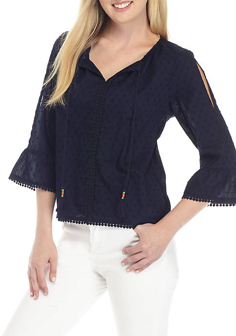Crown & Ivy™ Petite Three-Quarter Sleeve Pom Trim