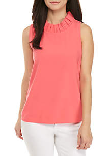 Petite Sleeveless Ruffle Neck Solid Top