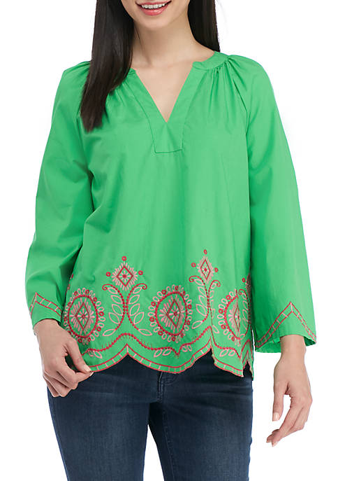 Crown & Ivy™ Embroidered Split Neck Top
