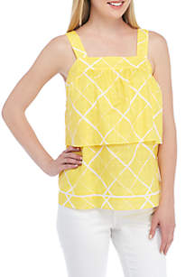 Petite Short Sleeve Front Tiered Top