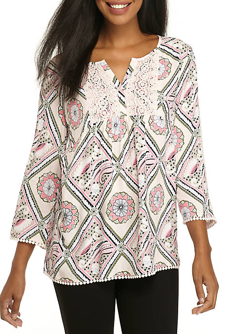 Crown & Ivy™ 3/4 Sleeve Peasant Printed Top