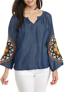 Petite Long Embroidered Sleeves Solid Peasant Top