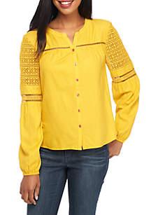 Petite Long Sleeve Crochet Shoulder Solid Top