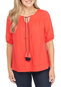 Petite Short Sleeve Pom Trim Solid Top