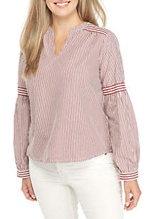 Petite Long Sleeve Striped Play Top