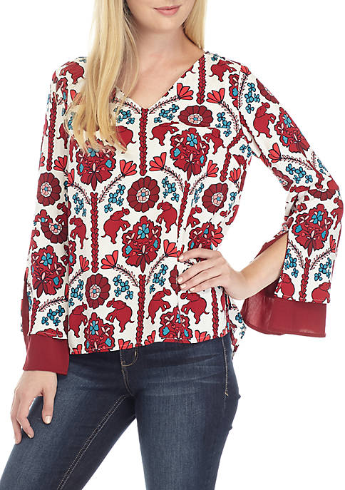 Crown & Ivy™ Petite Long Double Bell Sleeve