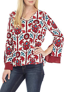 Petite Long Double Bell Sleeve Printed Top