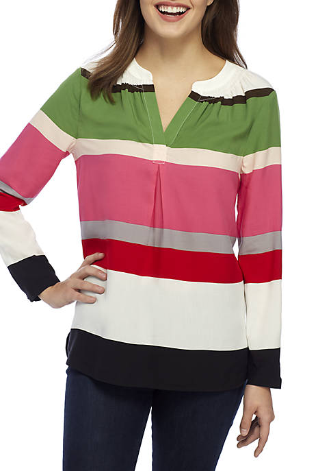 Crown & Ivy™ Petite 3/4 Sleeve Striped Peasant