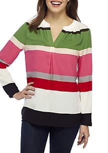Petite 3/4 Sleeve Striped Peasant Top