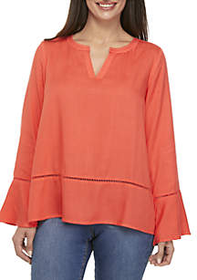 Petite Long Sleeve Solid Woven Top