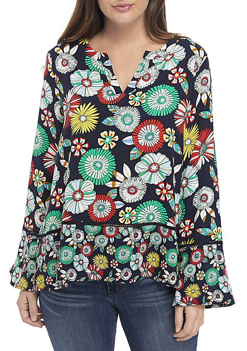 Crown & Ivy™ Petite Long Sleeve Print Peplum