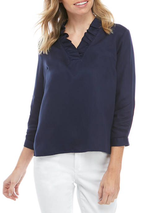 Crown & Ivy™ Petite 3/4 Sleeve Ruffle Neck
