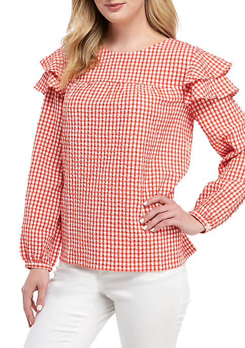 Crown & Ivy™ Petite Ruffle Shoulder Woven Top