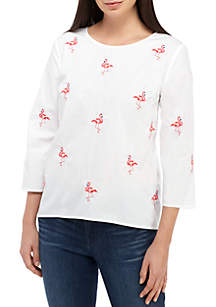 Crown & Ivy™ Petite Embroidered Woven Top