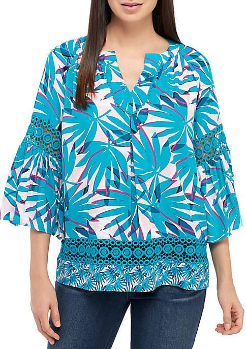 Crown & Ivy™ Petite 3/4 Bell Sleeve Print