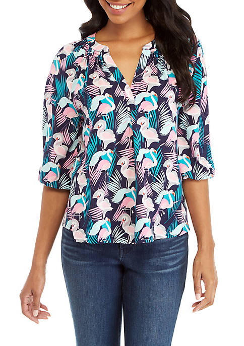 Crown & Ivy™ Petite 3/4 Sleeve Print Peasant